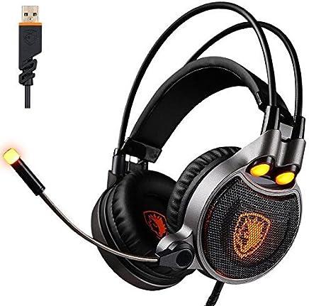 SADES R1 USB Stereo PC Digital a 7.1 canali audio surround Gaming Headset cuffia con microfono ad alta sensibilità LED controllo del volume del rumore con la cancellazione della luce (nero) - Trova i prezzi più bassi