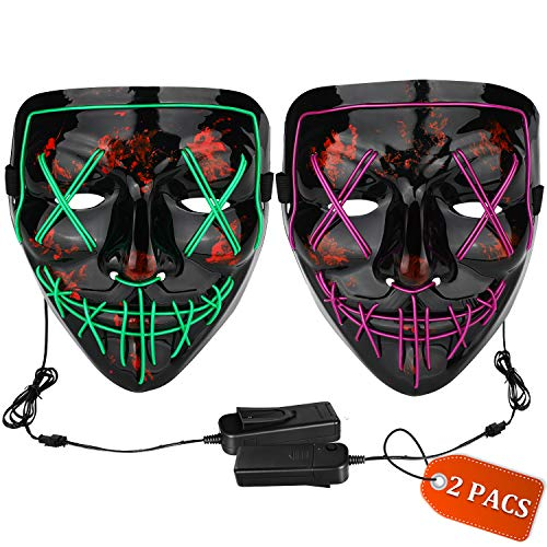 Halloween Mask LED Light up Mask (2 Pack) Scary mask for Festival Cosplay Halloween Costume Masquerade Parties,Carnival (Green+Purple)