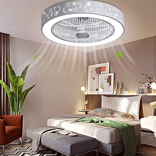 RDFlame 55 cm Ventilatore da soffitto con luce e telecomando, 3 velocità di vento, dimmerabile, silenzioso(Stelle e luna)