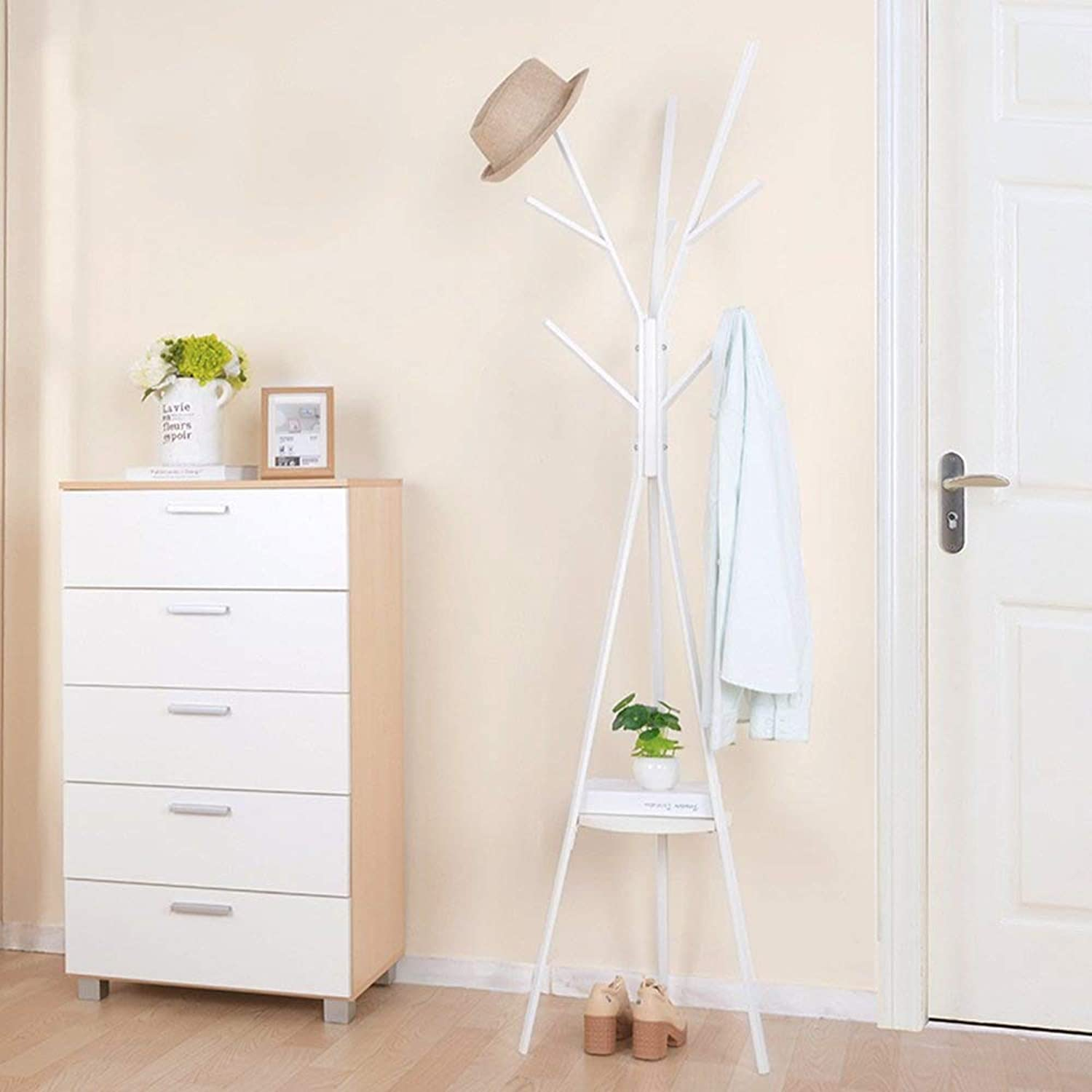 Coat Rack Floor Type Iron Hanger Simple Bedroom Hangers Household Multifunctional Wall Hanger White Haiming (color   White)