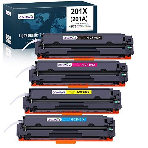 OfficeWorld Kompatibel Toner 201X 201A CF400X CF400A CF401X CF402X CF403X für HP Color Laserjet Pro MFP-M277DW MFP-M277N MFP-M274N M252DW M252N MFP-M277 MFP-M274 M277 M274 M252