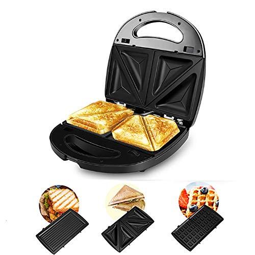HANJIAJKL Sandwichera para 2 Sándwiches,Gofrera con 3 Plato Extraíble para Tostadas,Revestimiento Antiadherente,2 Indicadores Luminosos