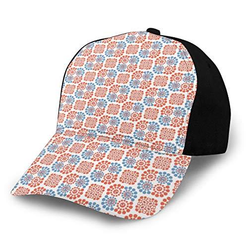 Hip Hop Sun Hat Baseball Cap,Abstract Bicolour Style Motif Repetitive Rounds Illustration,For Men&Women