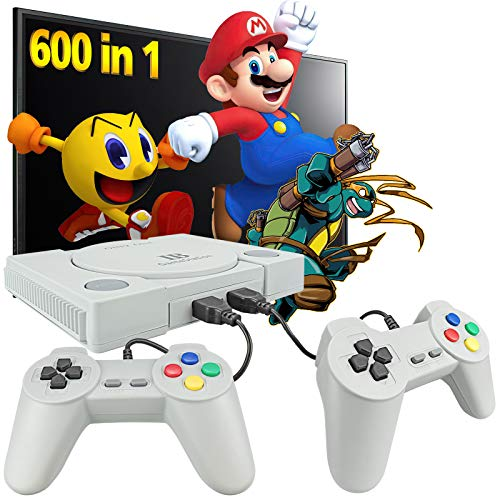 Fadist Retro Game Console, Built in 600 Games, Classic Video Game Console, with 2 Classic Controllers, AV Output Plug and Play Games Console, Ideal Gift for Kids, Adult, Friend, Lover