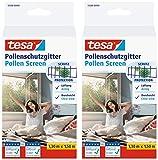 tesa Pollenschutzgitter 55286 für Fenster   zuschneidbares, wiederverwendbares Insektenschutzgitter für Allergiker   Anthrazit, 1,30 m x 1,50 m (2)