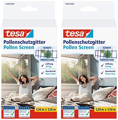 tesa Pollenschutzgitter 55286 für Fenster - zuschneidbares, wiederverwendbares Insektenschutzgitter für Allergiker - Anthrazit, 1,30 m x 1,50 m (2)