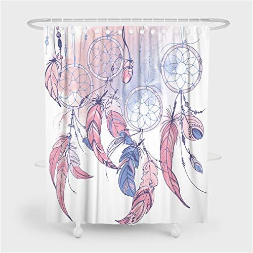 Fansu Duschvorhang Wasserdicht Anti-Schimmel Anti-Bakteriell 3D Traumfänger Drucken mit 12 C-Form Kunststoff Haken für Badzimmer, 100prozent Polyester Bad Vorhang mit Ringe (180x200cm,Feder)