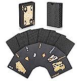 Joyoldelf Black Playing Cards, Deck of Waterproof Lattice Pattern Poker Card Decks Games