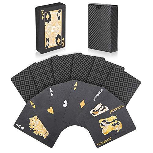 joyoldelf Carte da Gioco, Nuovo Plastica Impermeabile Carte da Poker, Carte da Magia per Cena e Vacanze (Nero)