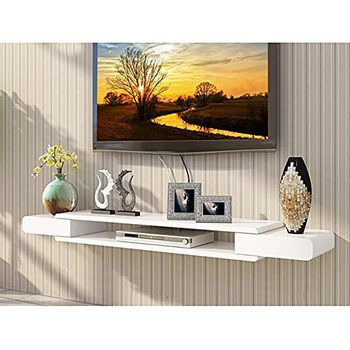 Wap Tv Estante Montado en la Pared, 2 Nivel Media Console Flotantes Estantes Colgantes Mueble de Televisión para Cajas de Cable Routers Mandos a Distancia Reproductor de Dvd-A 110Cm (43Inch) / B