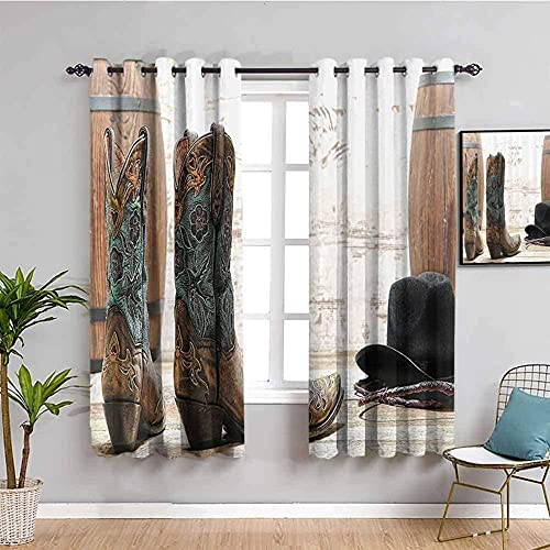 MXYHDZ Blackout Curtains for Bedroom - Retro cowboy boots hat - 3D Print Pattern Eyelet Thermal Insulated - 59 x 65 inch - 90% Blackout Curtains for Kids Boys Girls Playroom