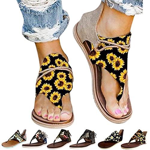 Cuidado Femme Sandales Plates, Chaussures Camouflage Femme Claquette Antidérapant Bout Ouvert Femme Sandales Lacets Tournesols Chrysanthème