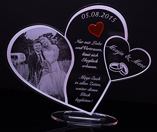 Acryl Schild in Herz Form Hochzeitstag mit Foto-Lasergravur, Geschenk, 205 mm x 170 mm (Hochzeitsschild mit Fotogravur)