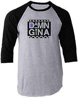 Pop Threads Damn Gina Retro 90s Clothing Funny Raglan Baseball Tee Shirt