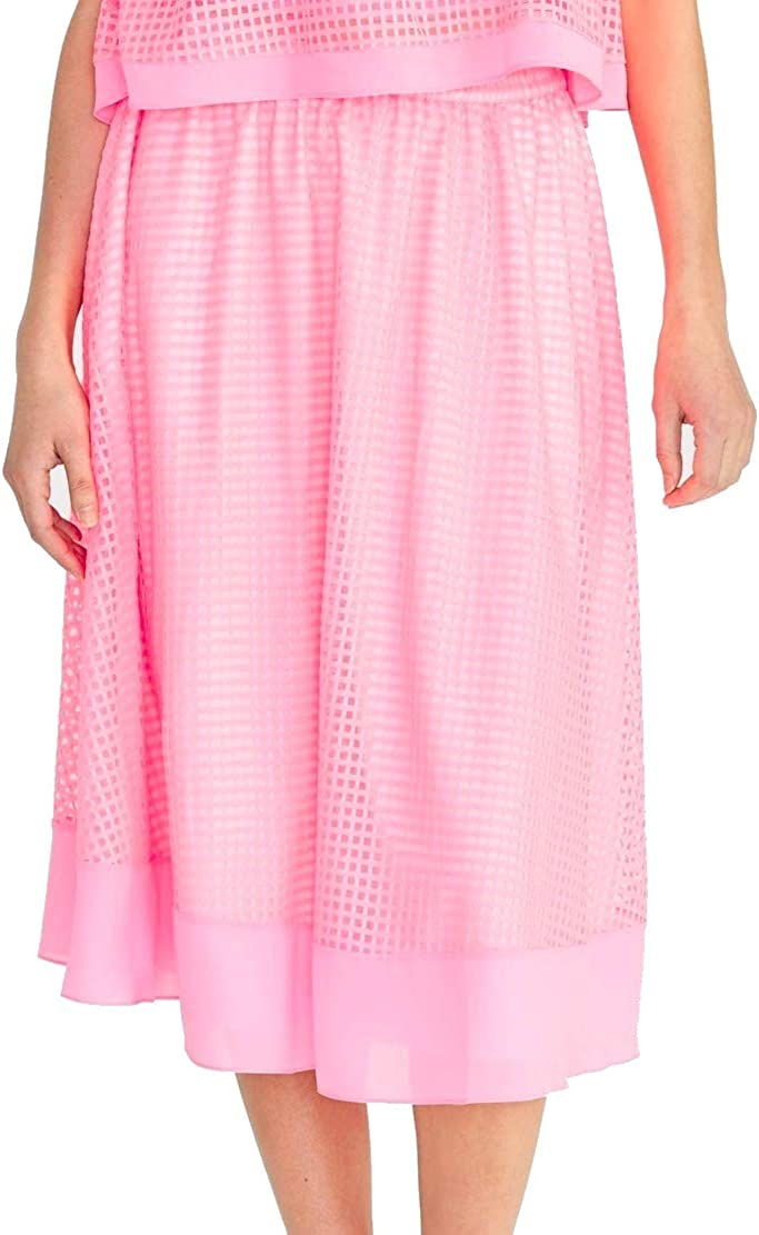 RACHEL ROY Women's Ilia Grid Mesh Pull-on Midi A-Line Skirt