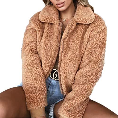 REWORDGT Faux-Pelz-Mantel-Frauen-Herbst-Winter Fluffy Teddy Jacke Plus Größe Langarm-Oberbekleidung drehen unten Kurzmantel Camel L