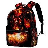 XiangHeFu Mochila escolar para niñas niño caminata al aire libre bolsa de viaje mochila Lobo espacial Mochila estampada