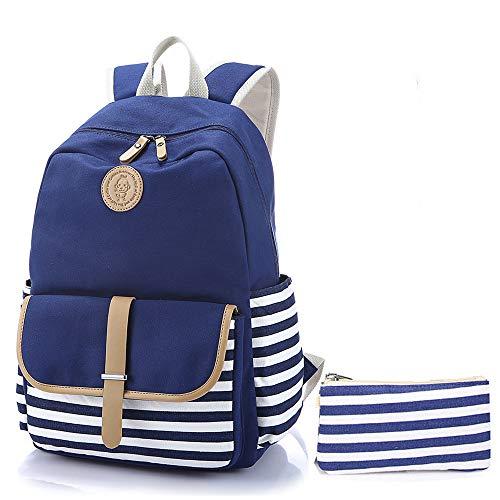 QXbecky Schultasche gestreift navy Canvas Tasche frisch Umhängetasche Junior High School Schüler Rucksack blau + Federbeutel 33x45x15cm