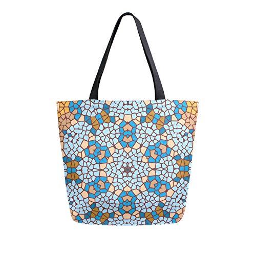 RURUTONG Bolsa de lona de cerámica con diseño de flores y baldosas, para comestibles, bolsa de playa, reutilizable, multiusos, resistente, para actividades al aire libre 2012837