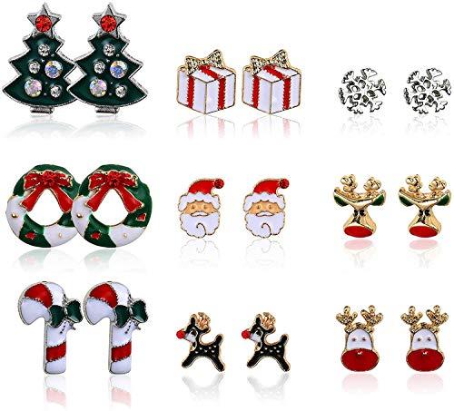 YADOCA 9 Paare Weihnachten Ohrstecker für Damen Mädchen Kinder Schneeflocke Weihnachtsbaum Weihnachtsstrumpf Rentier Urlaub Geschenk
