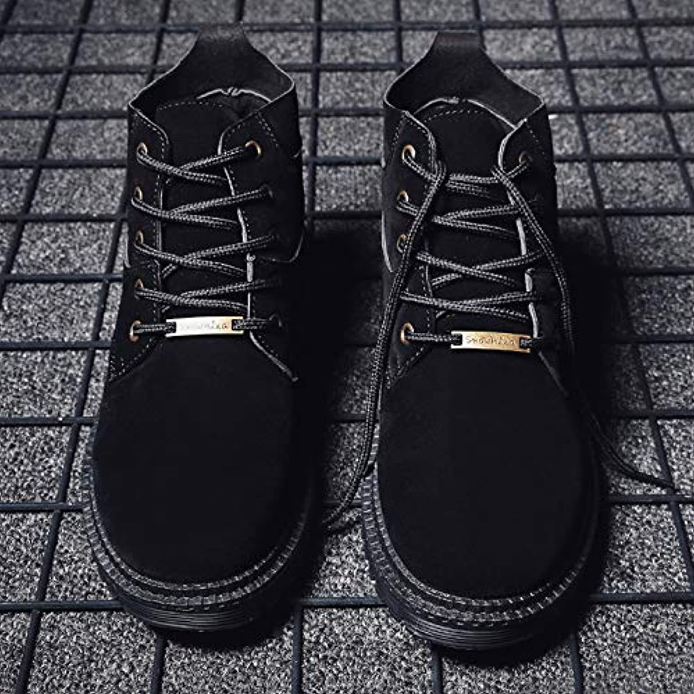 Shukun Men's boots Martin Boots Men'S Middle Boots Shorts Matte Men'S High shoes Winter Autumn And Winter Boots