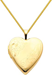 14k Yellow Gold Polished Heart Locket Pendant with 0.9mm Braided Wheat Chain Necklace