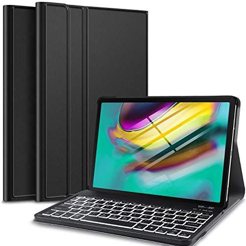 IVSO Backlit Keyboard Case voor Samsung Galaxy Tab S5e T720 / T725 10.5 (QWERTY), Slim Case met 7 kleuren Backlit Afneembaar Draadloos Toetsenbord voor Samsung Galaxy Tab S5e 10.5 T720 / T725 2019, Zwart