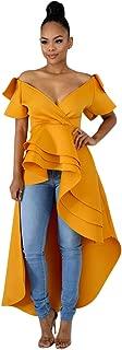 Womens High Low Maxi Dresses - Casual Short Sleeve Ruffle Tunic Shirt Dress