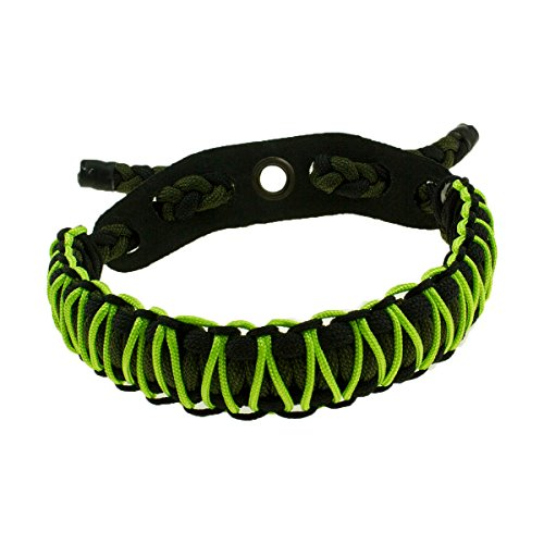 Bow Wrist Sling Archery Wrist Sling Hand Braided 550 Paracord Survival Hunting Shooting Wrist Strap Durable Leather Yoke with Grommet (Green)