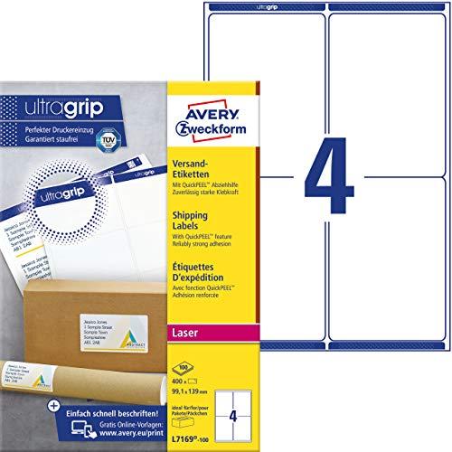 AVERY Zweckform L7169-100 Versandetiketten/Versandaufkleber (mit ultragrip, 99,1 x 139 mm auf DIN A4, bedruckbar, selbstklebend, für mittlere und große Pakete, 400 Etiketten auf 100 Blatt) weiß