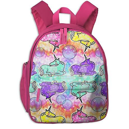 Zaino per bambini 2 anni,Unicorn Bubbles 21_x_18_3580 - feralartist, Per le scuole per bambini Panno di Oxford (rosa)