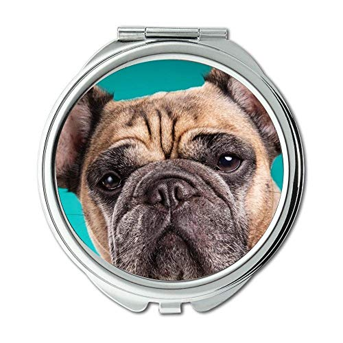 Yanteng Spiegel, Runder Spiegel, Französische Bulldogge, Taschenspiegel, 1 X 2X Vergrößerung