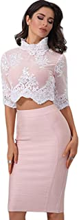 Women's Long Sleeves Crop Top Midi Skirt Outfit Two Pieces Embellished Bandage Party Dress