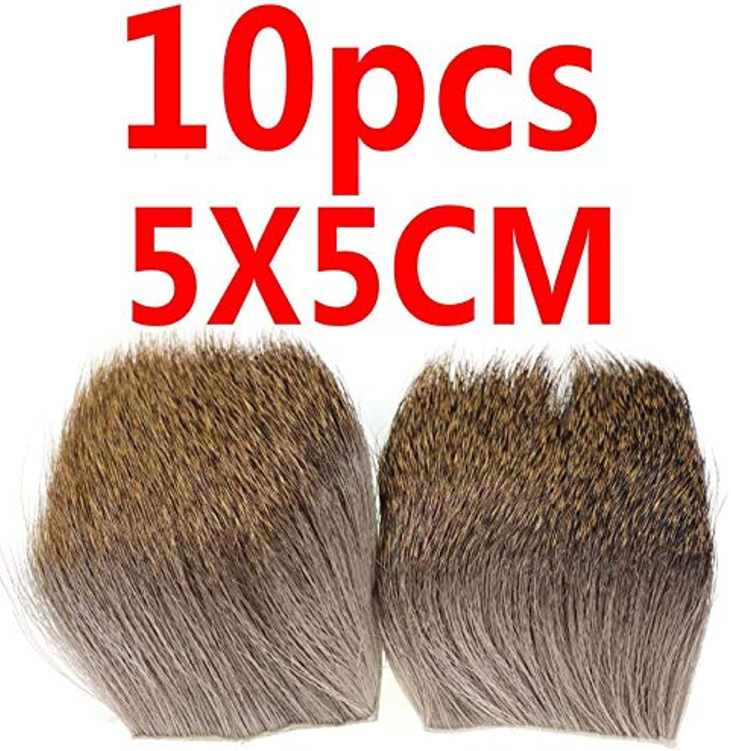 Generic Bimoo 10PCS 5cmX5cm Fly Tying Body Deer Hair Patch Fur Muddler Minnow Dry Elk Hair Caddis Fly Tying Wing Material Natural color 10PCS Random
