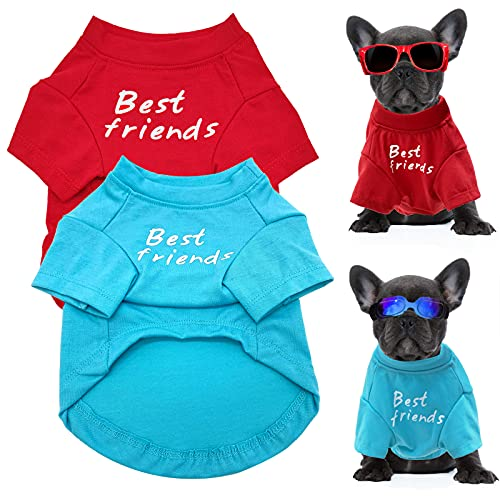LKEX 2 Pack Dog Shirt Puppy Clothes Soft French Bulldog T-Shirts Best Friends Shirts Summer Vest Cute Pet Tank Top Costumes Breathable Clothing Cat Tee Apparel Outfits for Small Medium Dogs Kitty S