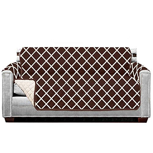 Sofa Shield Original Patent Pending Reversible Loveseat Protector for Seat Width up to 54 Inch, Furniture Slipcover, 2 Inch Strap, Couch Slip Cover Throw for Pets, Love Seat, Diamond Chocolate Beige