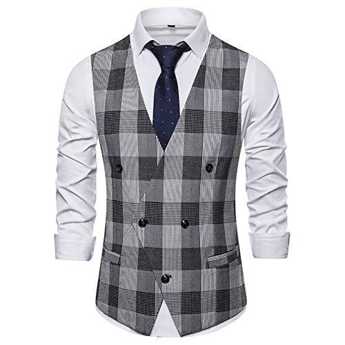 Story of life Britse mannen beroep geruit vest twee rijen onregelmatige knoop vest nemen passende klassieke gilet voor bruiloft/zakelijk/partij