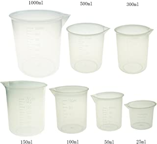Plastic Measuring Cup Set 7 Sizes 25ml 50ml 100ml 150ml 250ml 500ml 1000ml Capacity Cup Clear White Container by Bilipala