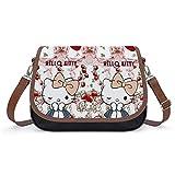 Bolso cruzado de piel sintética para mujer, diseño de Hello Kitty, con delicados fresas cruzadas