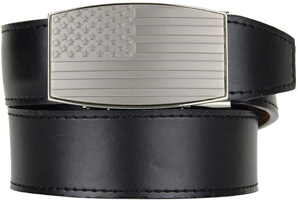 USA Embossed Pewter Aston Black Leather for Adjust Belt low-pricing Men with Max 44% OFF