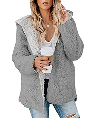 ReachMe Womens Oversized Sherpa Jacket Fuzzy Fleece Teddy Coat with Pockets Open Front Hooded Cardigan(Light Grey,L) by ReachMe