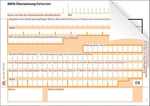 1000 SEPA-Überweisung / Zahlschein, einzeln, 2-fach, rechts verleimt, neutral