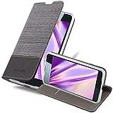 Cadorabo Hülle für Nokia Lumia 650 in GRAU SCHWARZ - Handyhülle mit Magnetverschluss, Standfunktion & Kartenfach - Hülle Cover Schutzhülle Etui Tasche Book Klapp Style