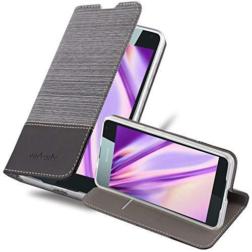 Cadorabo Custodia Libro per Nokia Lumia 650 in GRIGIO NERO - con Vani di Carte, Funzione Stand e Chiusura Magnetica - Portafoglio Cover Case Wallet Book Etui Protezione