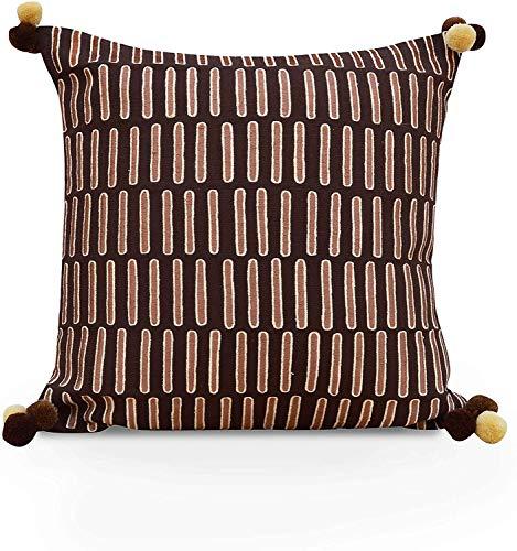 VLiving Funda de almohada bordada estilo Mola marrón y beige (marrón y beige, 45,7 x 45,7 cm)