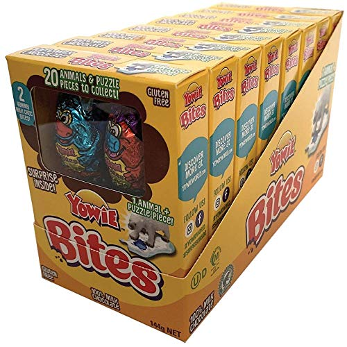 Yowie Bites Chocolate with Surprise Inside | Easter Prize | Tray of 8 Boxes | Each Box Contains 1 of 20 Animals and Habitat Puzzle Pieces to Collect | Series 1 | Fun for All Ages and Genders
