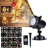 Proyector de Luces de Navidad, Proyector Navidad con Control Remoto Impermeable Iluminación LED 16 Patrones Giratorios, Fiesta de Cumpleaños, Valentín, Decoración Interior y Exterior del Jardín