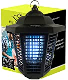 White Kaiman Electric Bug Zapper Outdoor Mosquito Lamp - High Powered 2000 Volt Grid & 20W UV Tube Insect Attracting Mosquitoes ~ Killer Waterproof Bug Zapper (Black)