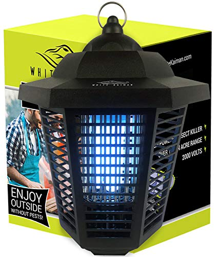 White Kaiman Electric Bug Zapper Outdoor Mosquito Lamp - High Powered 2000 Volt Grid & 20W UV Tube Insect Attracting Mosquitoes ~ Killer Waterproof Bug Zapper (Black) (Lawn & Patio)