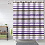 72x72inch Bathroom Shower Curtains, Ombre Lavender Purple Stripe, Fabric Bathroom Curtains Window Machine Washable&Water Proof, Watercolor Luxury Unique Target Shower Curtains Set With Hooks 66'W